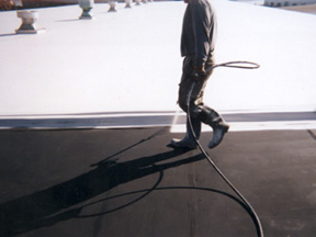Single-Ply Roofing During Coating Application