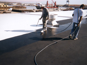 Single-Ply Roofing After Coating Application Complete